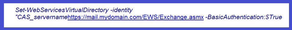 configure the external URL for Exchange Web Services