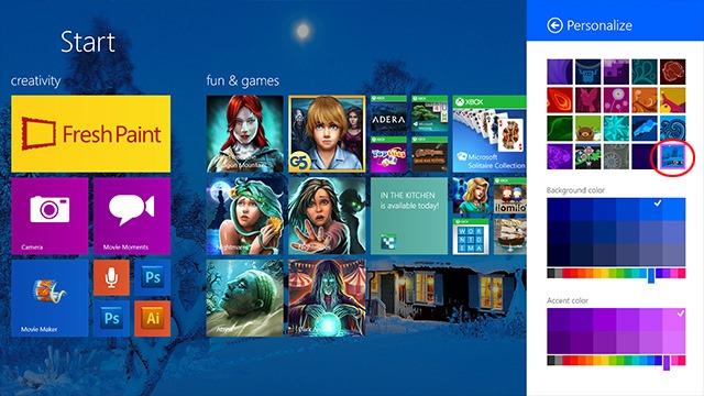 Desktop Background in Start Screen