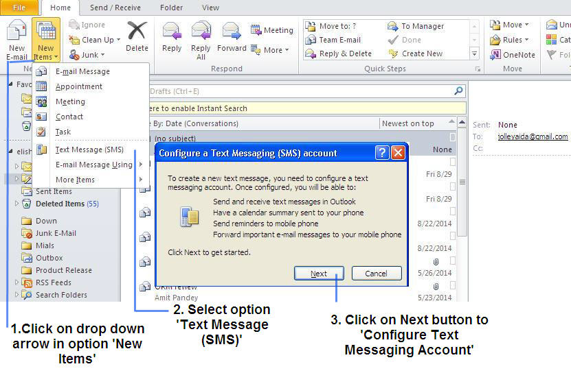 Sent text messages form outlook