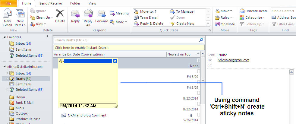 Adding Sticky Notes in Outlook