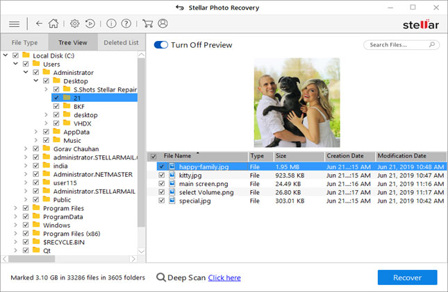 Stellar Photo Recovery - Preview of Recover Photos, Videos