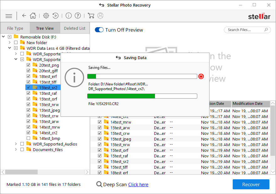 Stellar Photo Recovery - Save your recover deleted Videos at you desired location