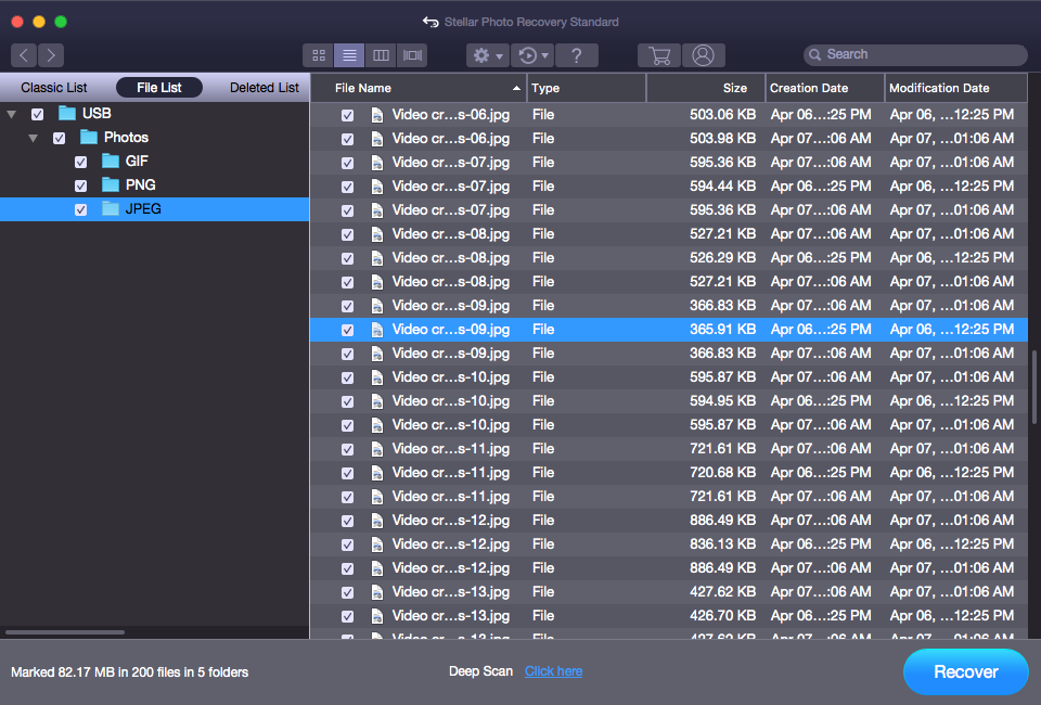 See the Preview of Recover Photo Screen on Mac