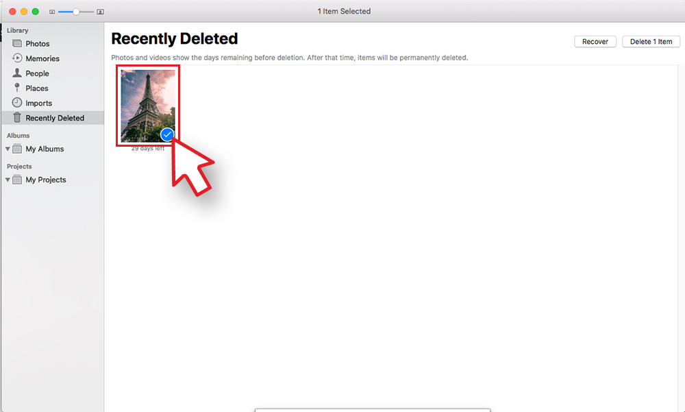 Select Deleted Picture Screen on Mac