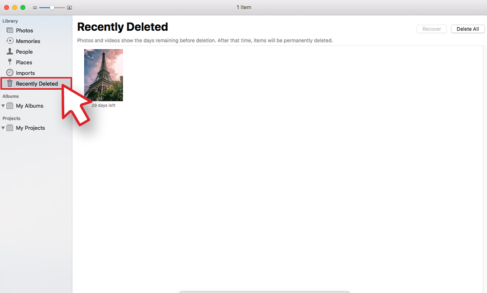 Recently Deleted section on Mac