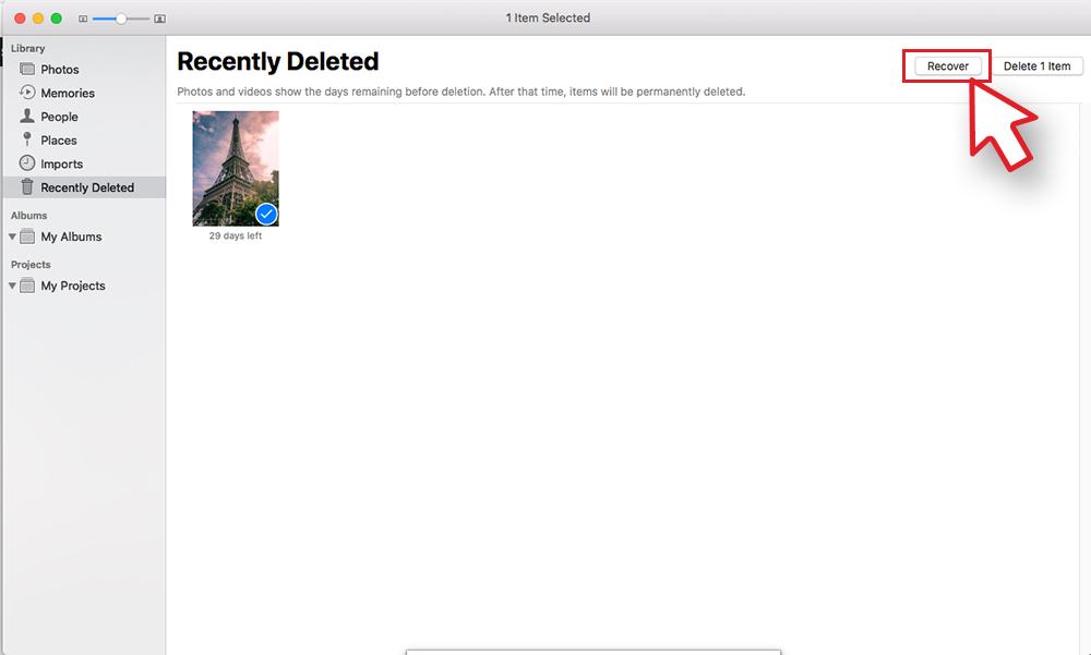 Photos app-recover deleted photos on Mac
