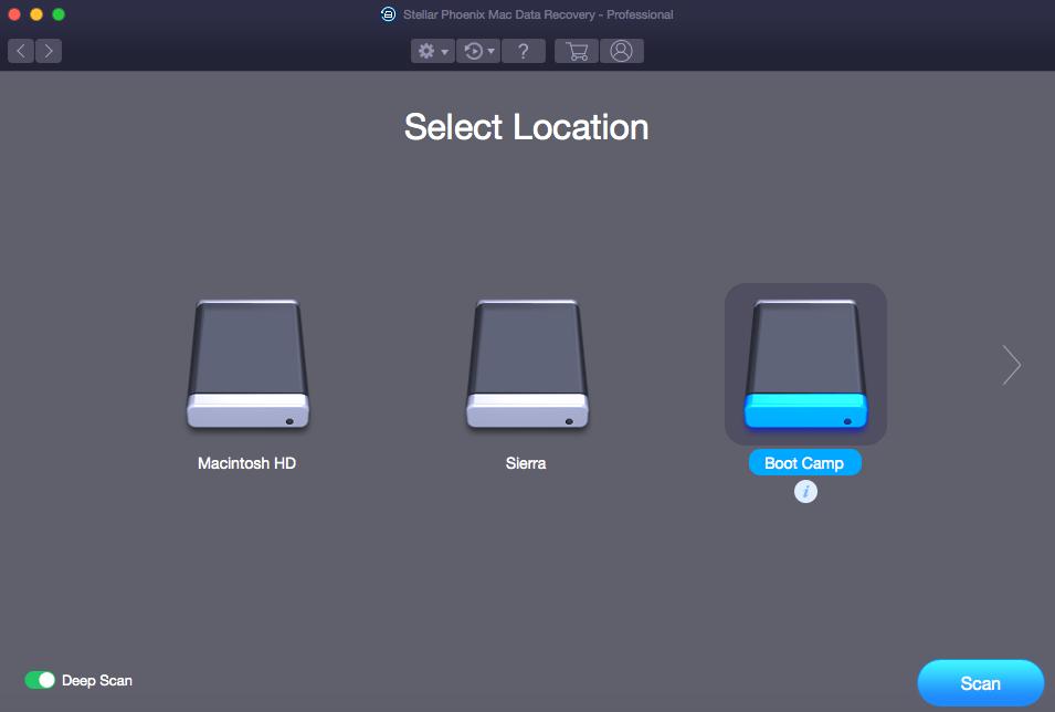 Stellar Phoenix Mac Data Recovery - Select BootCamp Partition