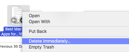 Delete Immediately