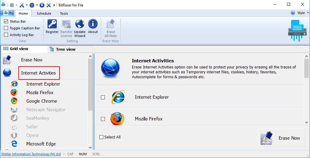 Erases Internet Activities