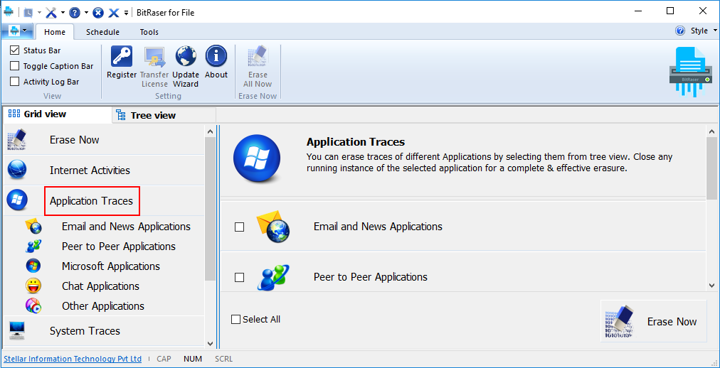 Erases Application Traces