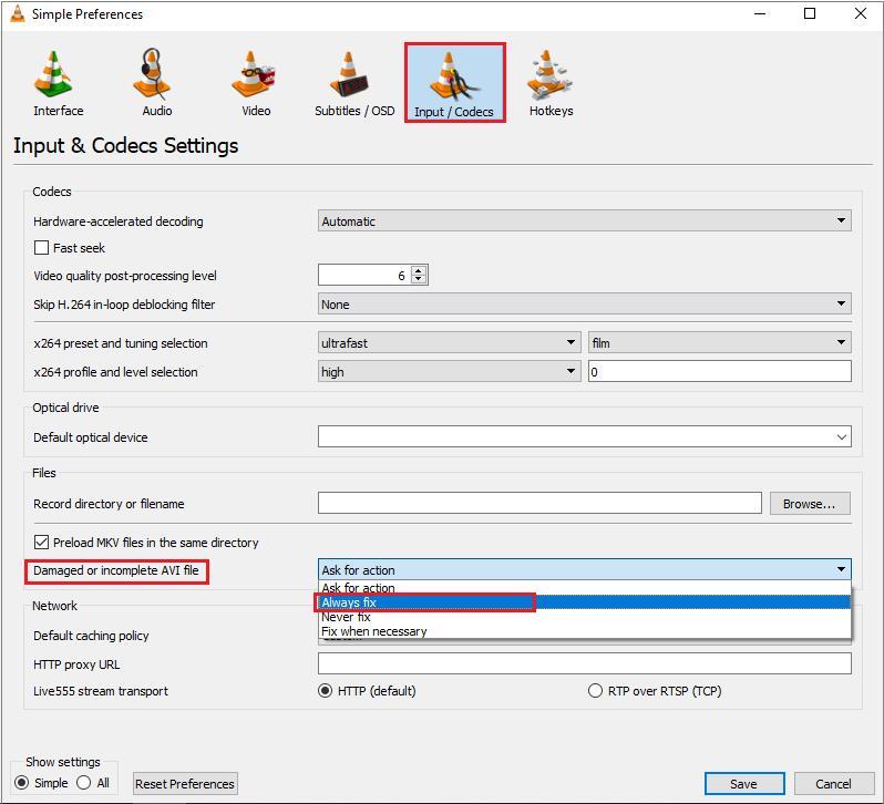 Fix option for damaged or incomplete AVI files
