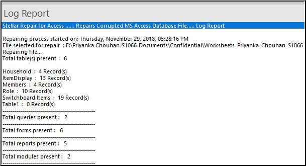 Log file of Stellar Repair for Access