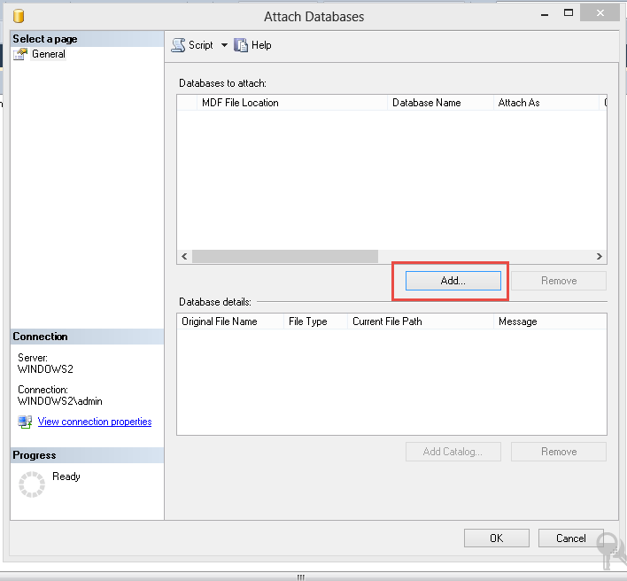 attach Microsoft SQL database
