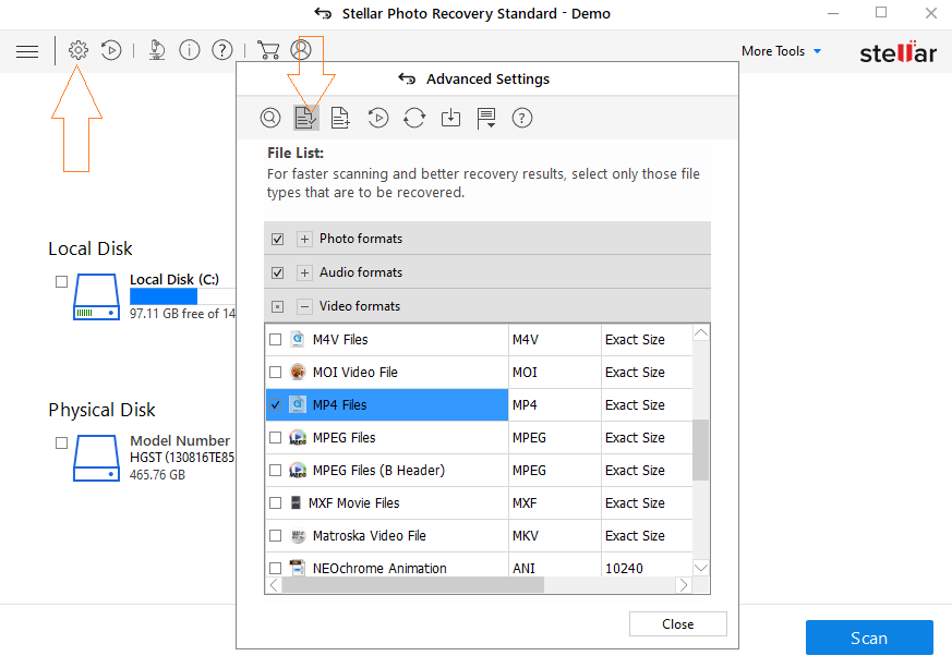 Stellar Photo Recovery Advanced Setting - Step-by-step to recover GoPro videos