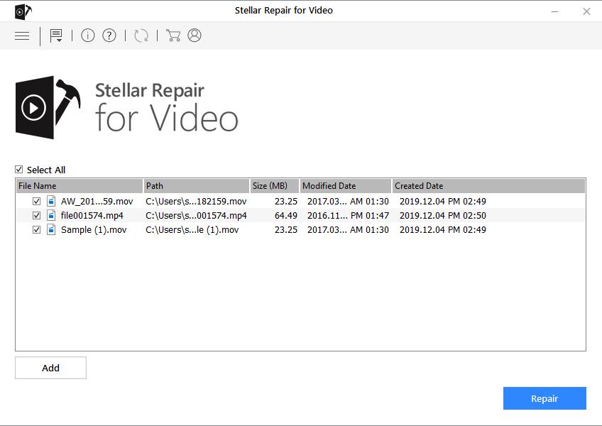 Stellar Repair for Video - Click Repair Added Files