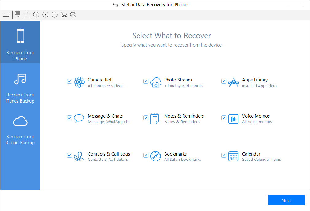 Stellar Data Recovery for iPhone - Main Interface