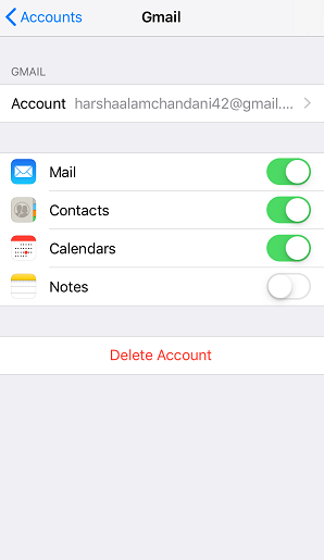 Turn on Notes for each account
