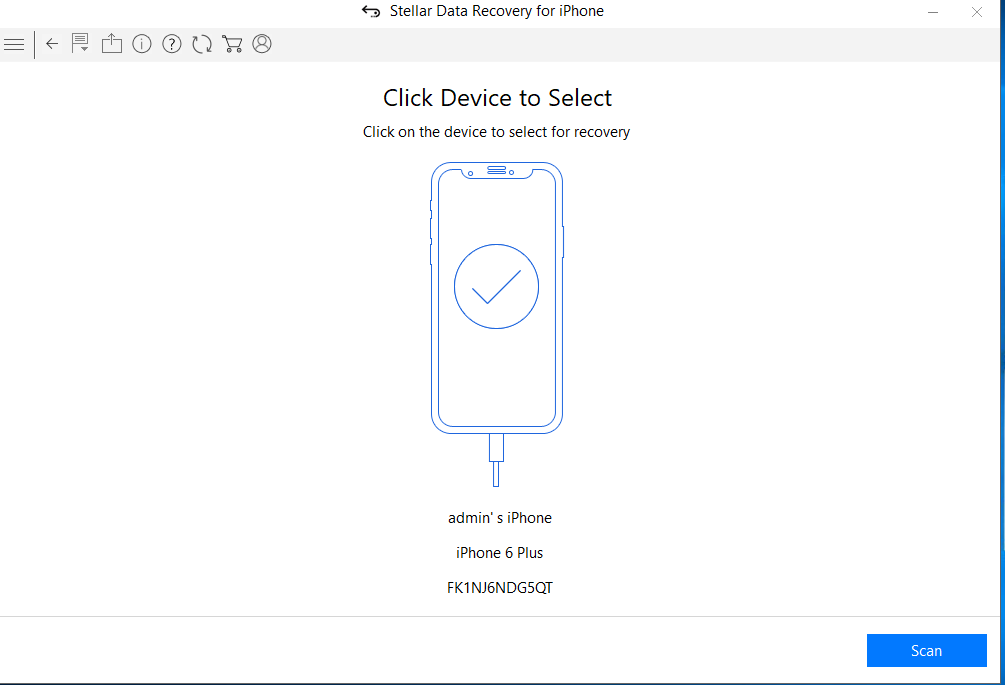 """Select your device and Click """"Scan"""""""