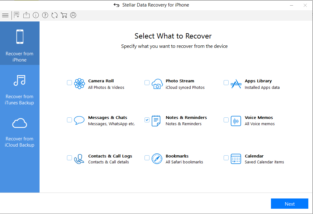 Stellar Data Recovery for iPhone - Choose Recover from iPhone