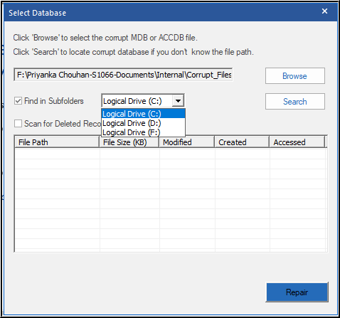 Search Access Database File