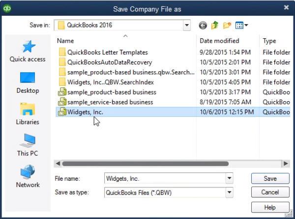 Save company File