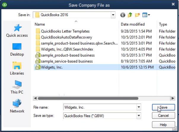 Save QuickBooks Company file