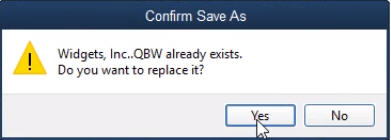 Confirm Save As