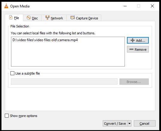 Open Media window in VLC