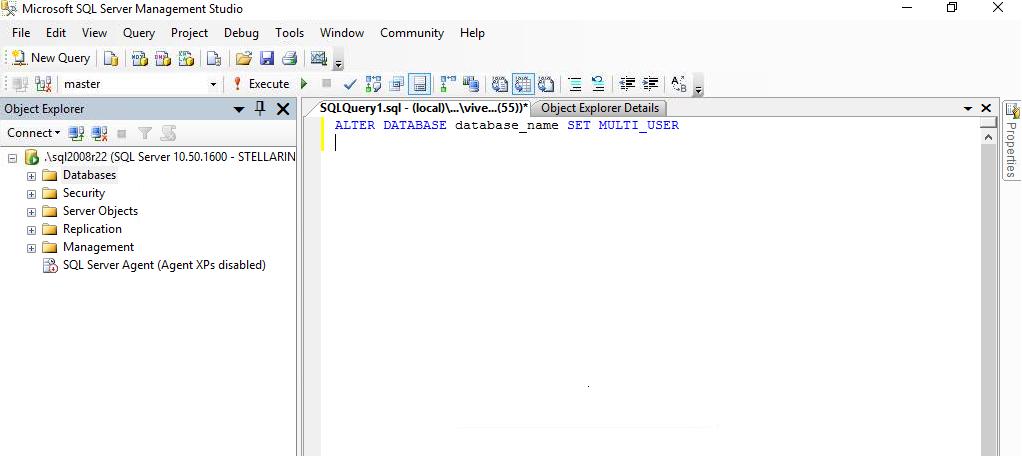 Set SQL Database to Multi User Mode