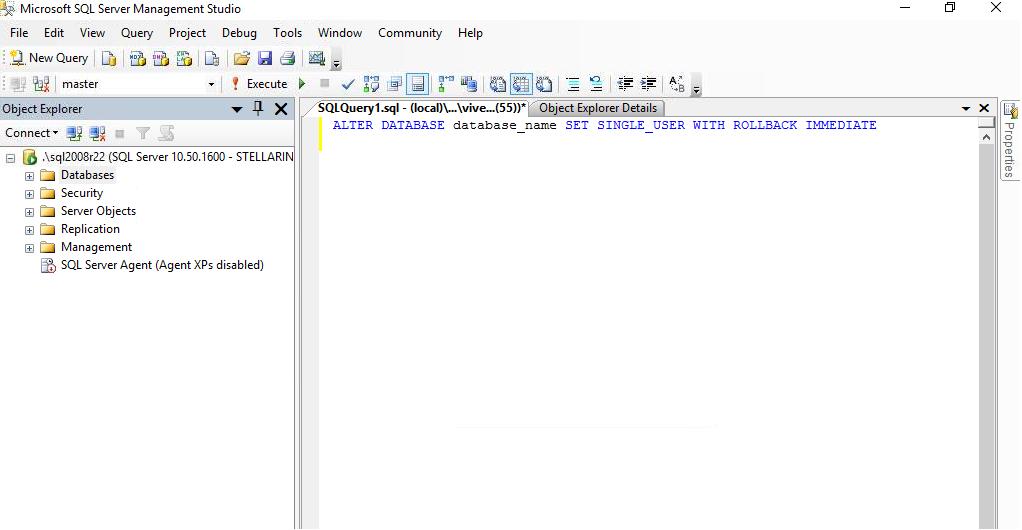 Set SQL Database to Single User Mode
