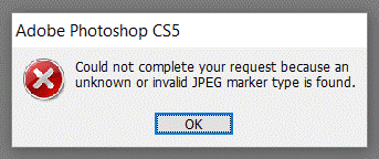 Invalid JPEG marker type error