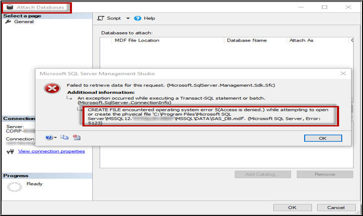 How to Fix SQL Server 2008 R2 Database Error 5123?