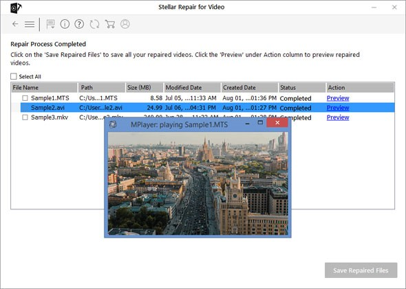 Preview window video files after repair
