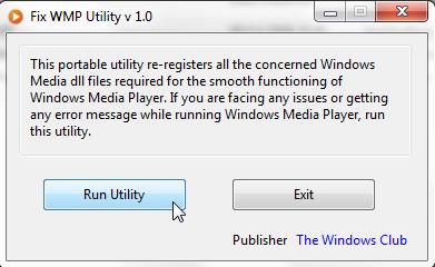 WMP Repair Utility window