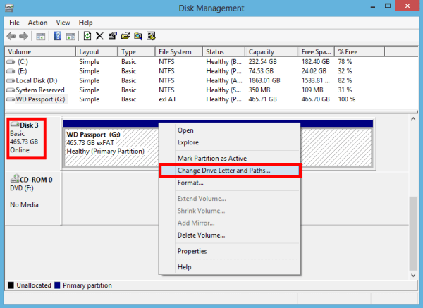 Check the drive letter and Paths on Disk Management