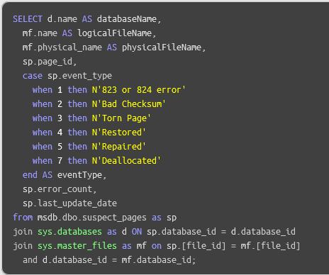 SQL database suspect pages