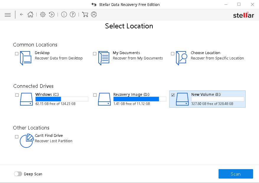 Stellar Free data recovery select location