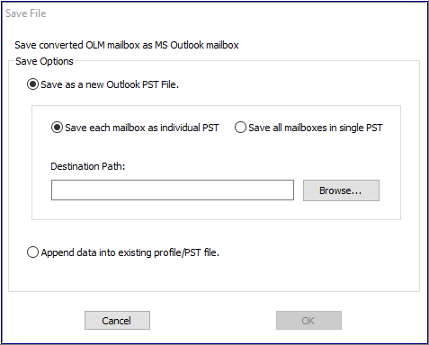 Save converted olm mailbox as Outlook PST
