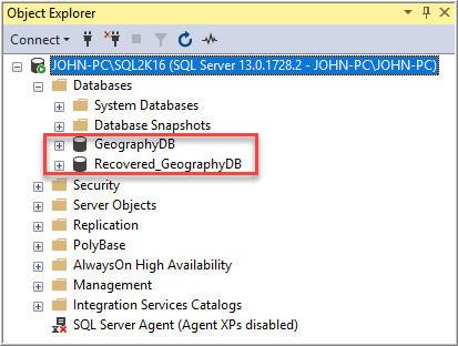 Recover SQL server database