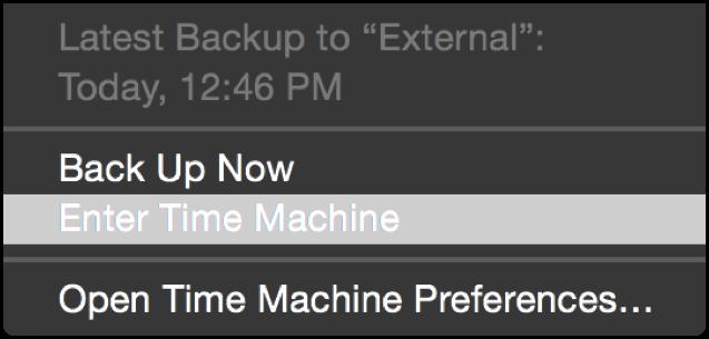 Select Time Machine