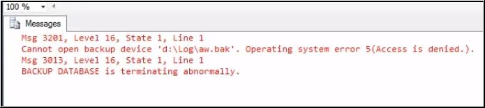 SQL Database Error 3013