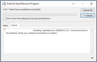 Outlook Error: Outlook cannot connect to server