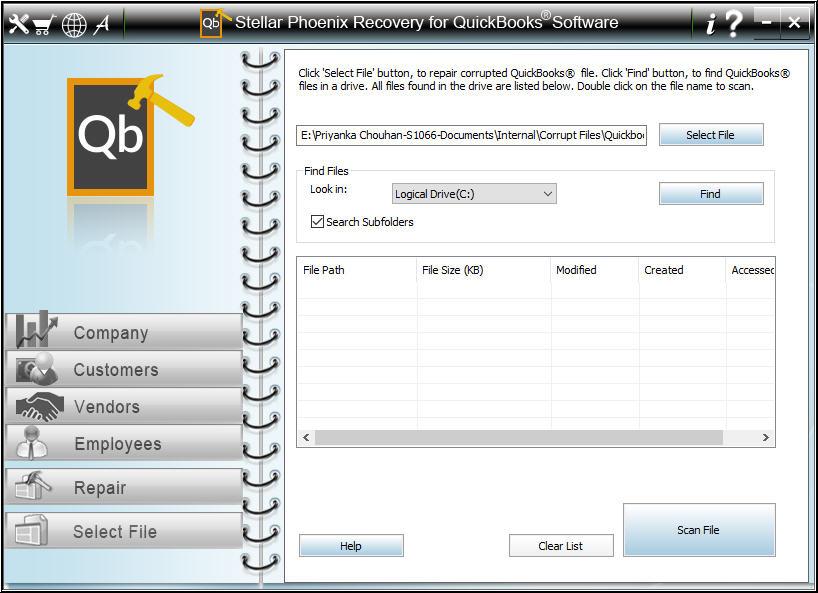 Select QuickBooks file