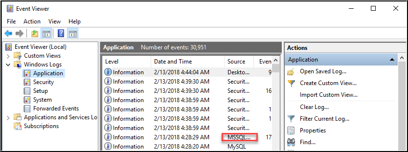 Windows log application