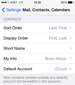 Restore Contacts through iPhone Settings