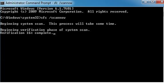 invalid value for registry error - Perform command prompt window type sfc /scannow