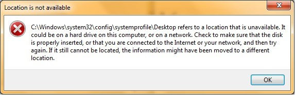 Windows desktop refer to location that is unavailable error