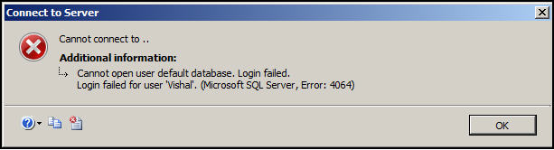 SQL Database Error: Cannot Open User Default Database