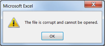Error Solved - the file is corrupted and cannot be opened