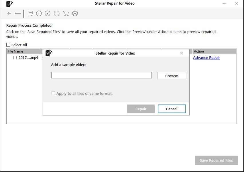 Stellar Repair for Video - Add Sample File